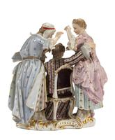 Late 19th Century Meissen Group of Two Women Tormenting a Male (4 of 7)