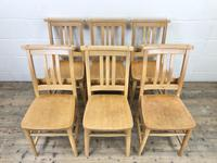 Set of Six Vintage Beech Chapel Chairs (3 of 19)