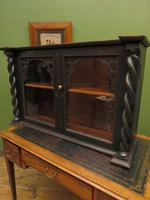 Antique Victorian Gothic Black Painted Curio Display Cabinet (11 of 13)