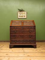 Antique Carved Oak Writing Bureau Desk with Fall Front, Handsome Gothic Piece (3 of 24)