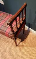 Fine Antique Upholstered Mahogany Reeded Leg Double Stool (3 of 5)