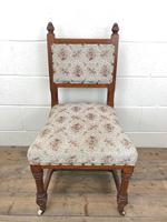 Pair of Antique Victorian Gothic Oak Chairs with Floral Upholstery (3 of 10)