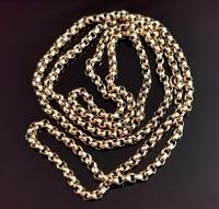Antique 9ct Yellow Gold Rolo Link Chain Necklace