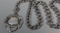Edwardian sterling silver graduated albert fob pocket watch chain + heart medal 1902 (4 of 11)