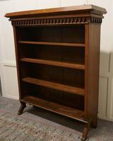Arts & Crafts Large Golden Oak Open Bookcase (3 of 7)
