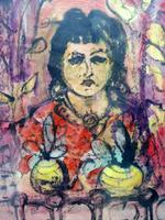 Mixed Media Girl in the Window Artist Claude Rowbothan 1955 (3 of 10)