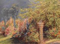 Garden scene oil painting by V. Rawlins (5 of 7)