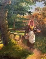 John Barter Lovely 19th Century Oil Painting 'Crossing the Stones' (10 of 14)