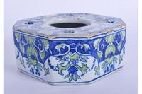 Continental Faience Tin Glazed Inkwell