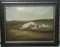 Early 19th Samuel Spode English Lurchers Hare Coursing Hunting Oil on Canvas