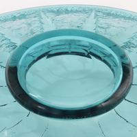 Large Daum Art Deco Etched Glass Centrepiece Bowl in Aquamarine c.1930 (8 of 10)