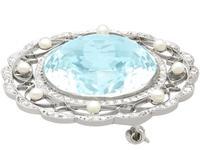 43.84 ct Aquamarine, 0.85 ct Diamond and Pearl, Platinum Brooch - Antique Circa 1910 (7 of 9)