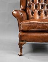 Edwardian Mahogany Hand Dyed Leather Wing Back Armchair (4 of 14)