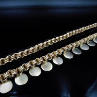Antique Victorian Aesthetic Coin 18ct Yellow Gold on Sterling Silver Chain Collar Necklace (5 of 12)