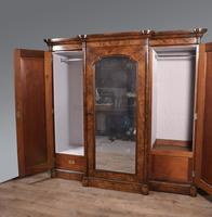 Large Antique Walnut Breakfront Triple Wardrobe (5 of 5)