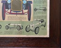 Intriguing Very Large 1960s Oak Framed Vintage Car Automotive Lithograph Poster (12 of 13)