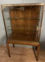 Brass Glazed Shop Display Cabinet on Wooden Stand with Drawer (6 of 13)