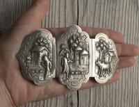 Antique Burmese Silver Belt Buckle, High Relief Repousse, Figures and a Cow c.1880 (3 of 8)
