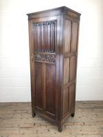 Early 20th Century Antique Oak Linenfold Hall Cupboard (12 of 13)