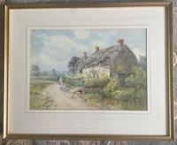 Thomas Noel Smith Watercolour - Mother & Child in Front of Thatched Cottage (2 of 2)