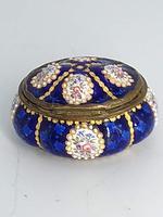 Blue Enamel Bonboniere with Flowers & Gilt Designs Pill Box (3 of 8)