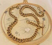 Victorian Pocket Watch Chain 1890 Antique 12ct Rose Rolled Gold Albert & T Bar (4 of 11)