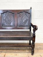 Antique Carved Oak Settle Bench (4 of 10)