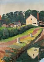 'Lapworth Canal, Warwickshire' Exceptional Vintage Oil on Canvas Painting c1960 (8 of 13)