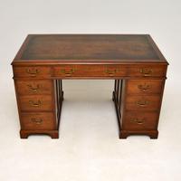 Georgian Style Mahogany Leather Top Pedestal Desk (2 of 12)