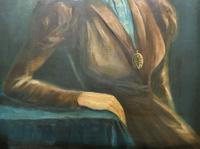 Stylish Mid 20th Century Vintage Portrait Oil Painting of a Trendy Seated Lady (6 of 11)