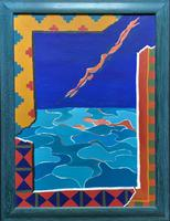 20th Century - British - Contemporary - Abstract Oil Painting of Naked Diver
