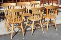 1960's Set 6 Beech Kitchen Chairs (3 of 3)