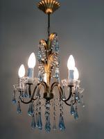 Vintage Gilt Toleware Ceiling Light Chandelier with Teal Glass Droplets (5 of 12)
