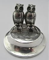 Edwardian, Novelty Silver Twin Owl Place Stands/ Menu Holders, Levi & Salaman, B'ham 1904 (6 of 8)