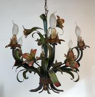 French Large 6 Arm Floral Toleware Chandelier Ceiling Light (7 of 8)