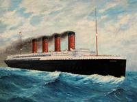 Huge Stunning Antique Seascape Oil Painting of Cunard's RMS Lusitania Ship c.1918 (6 of 16)