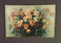 Signed Early 20th Century Large French Oil on Canvas Bouquet of Roses (7 of 8)