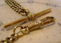 Antique Pocket Watch Chain 1890s Victorian Brass Albert With Swivel T Bar (7 of 10)