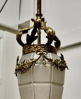 French Opalescent Glass & Brass Hanging Pendant Light (6 of 8)