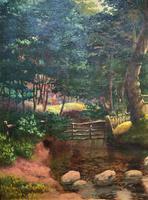 John Barter Lovely 19th Century Oil Painting 'Crossing the Stones' (4 of 14)