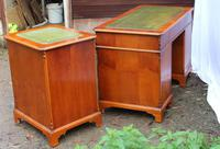 1960s Yew Wood Pedestal Desk with Green Leather Top + Matching Filing Cabinet (3 of 5)