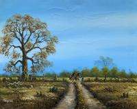Original 1960s Vintage Antique Country Equestrian Farming Landscape Oil Painting (2 of 11)