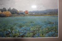 Antique Original Watercolour - Hamlet with Crop Field - Mary Sophia Godlee '1860-1932' (6 of 6)