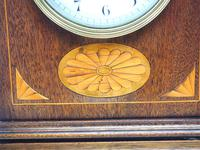 Fantastic French Inlaid Lancet Mantel Clock Multi Wood inlay 8 Day Striking Mantle Clock (7 of 10)