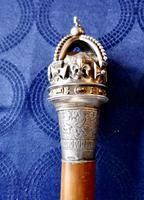 Malacca Walking  Cane with Sliver Crown Pommel by J Wippell & Co Ltd 1916 (3 of 11)