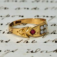 The Victorian 1892 Four Pearl & Ruby Ring (3 of 4)
