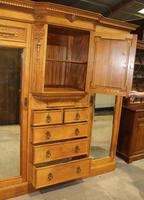 1900's Large Quality Oak Mirrored Compactum Wardrobe (3 of 6)