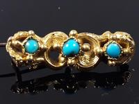 Antique Victorian 18ct Gold Turquoise Dainty Brooch (4 of 9)