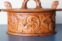 Scandinavian / Norwegian 'Folk Art' Baroque / Acanthus Carved Tine Box c.1910 (8 of 39)