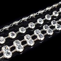 """Art Deco French Paste Long Silver Guard Chain Necklace 38"""" Antique (5 of 9)"""
